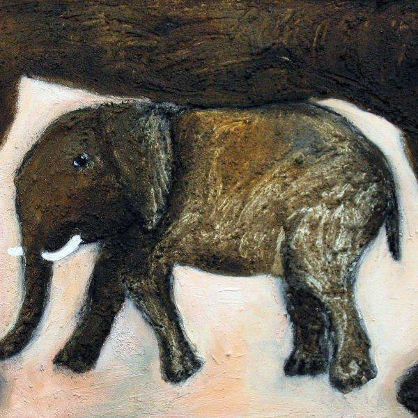 Elefanten 2, 2006, 50x70cm, Mischtechnik auf Leinwand
