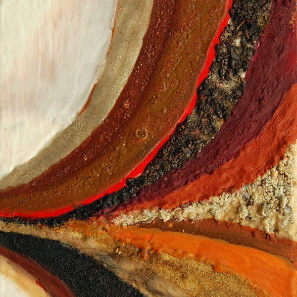 Erdfalte, 2010, 40x30cm, Erde Steine Wachs Pigment auf Leinwand