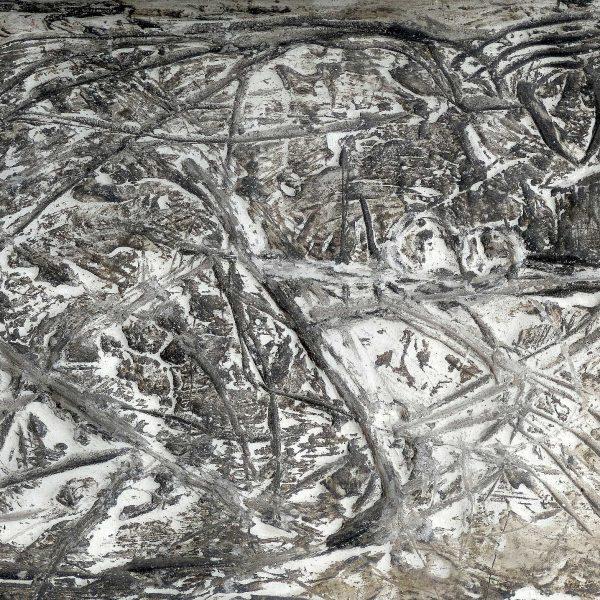 Relief (1) 1988, Gips, Tusche