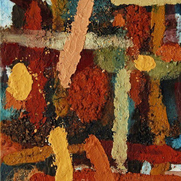 Übergänge 8, 2010, 100x77cm, Erde Sand Laub Steine Pigment auf Leinwand