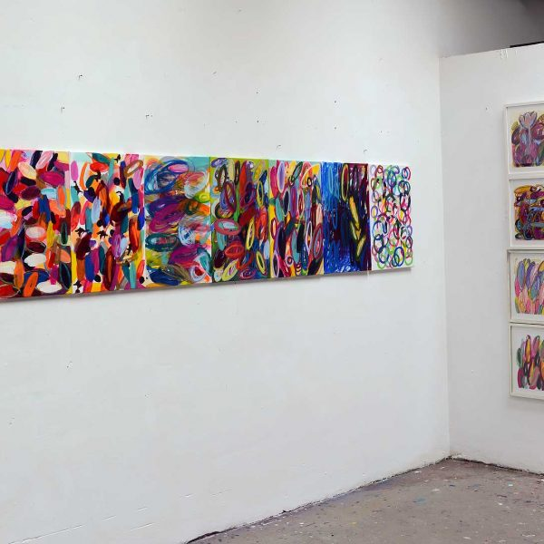 Wilde Blüten, 2013, links je 60x40cm, Acryl auf Leinwand, rechts Zeichnungen